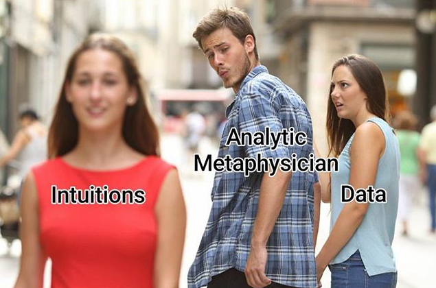 "A version of the ""distracted boyfriend meme"" maligning  *a priori* metaphysics."